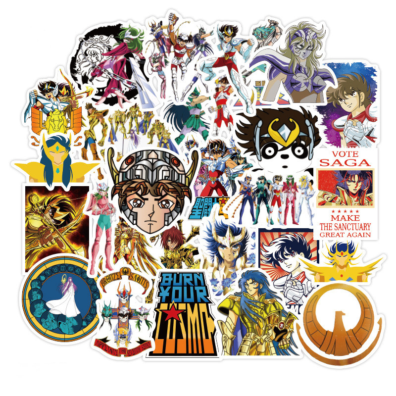 50pcs Anime Stickers Saint Seiya Sticker Anime Action Stickers For Laptop Suitcase Skateboard Fridge Bicycle Waterproof Stickers