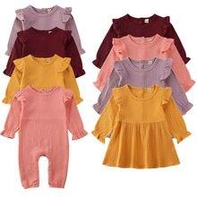 Комбинезон/платье для новорожденных девочек от 0 до 24 месяцев платье в горошек с длинными рукавами комбинезон с оборками, комбинезон, одежда