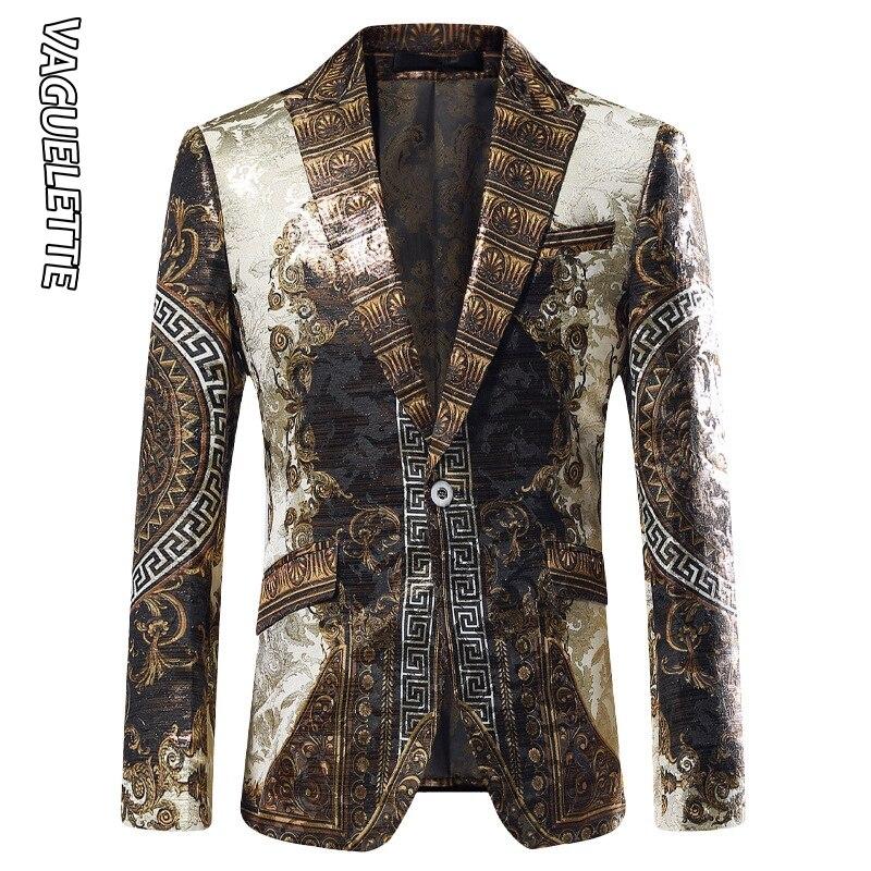 Vaguelette dorado Jacquard Blazer ajustado Blazer Masculino 2019 chaqueta de invierno para hombre Club DJ chaqueta para hombre chaqueta de escenario - 2
