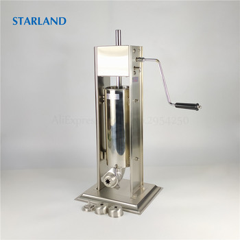 18 electric meat sausage stuffer stainless steel meat grinder vegetable potato fruit cutting machine commercial sausage filler 3L Spain Churros Making Machine Stainless Steel Sausage Stuffer Vertical Sausage Filler Meat Extruder Churro Molding Machine