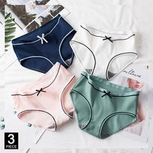 Calcinha de algodão para a mulher sexy moda briefs cor sólida calcinha menina arco cueca lingerie dropshipping 3 pçs/set