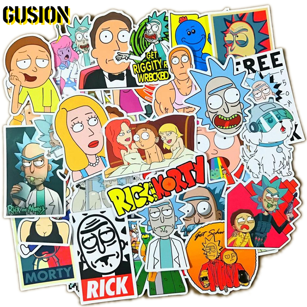 10/30/50pcs/Pack Rick And Morty Anime Stickers Guitar Skateboard Luggage Laptop Waterproof Funny Graffiti Sticker Children Toys