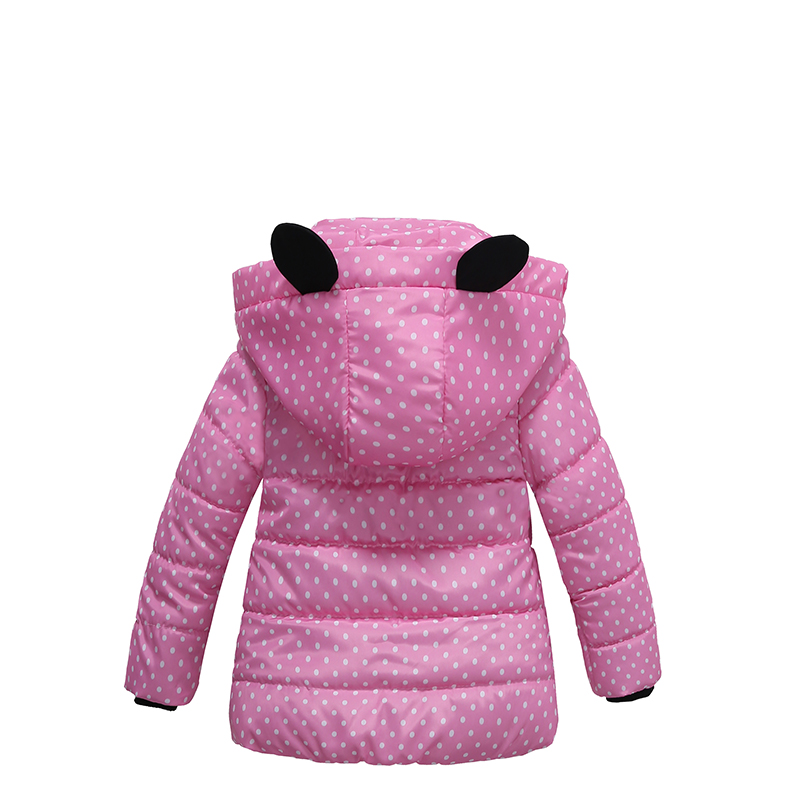 4 Bibihou Winter Coats Kids Clothes Children Clothing Cotton Girl Coat Jacket Fashion Warm Outerwear Jackets For Girls Minnie dot
