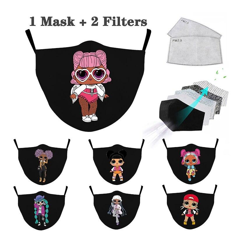 Многоразовые Детские маски кукла в маске с мультяшным принтом, милые моющиеся пылезащитные маски, Модные дышащие Тканевые Маски