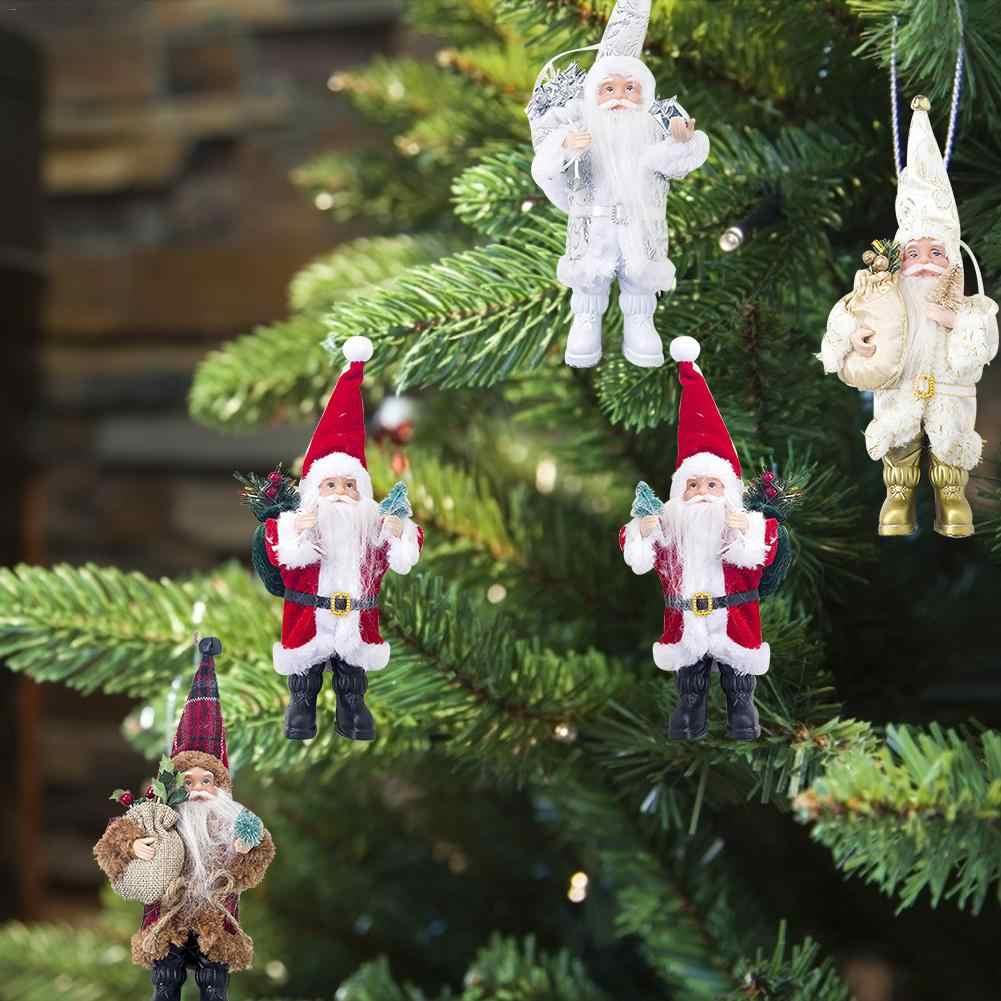 חג המולד סנטה קלאוס בובת קישוט קישוט צלמית אוסף עומד מסורת Tabel דקור אדום שחור עם עץ