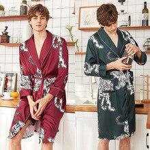 Men Silk Satin Kimono Summer Bathrobe print Tiger Knee Lengt