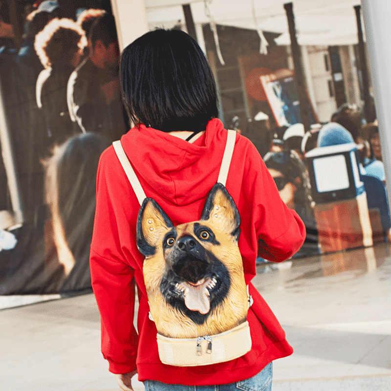 Nova Cabeça de Cão Mochila Venda Quente Mochila Feminina Saco Engraçado Bonito Multi-função À Prova D' Água