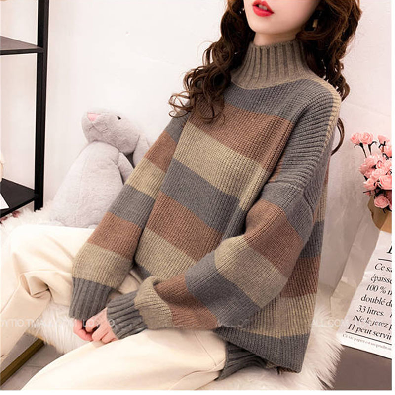 Female Loose 2019 Knitted Pullovers Warm Fashion Long Sleeve Turtle Neck Plus Size Long Pull Jumper Women Sweater Ladies Pull