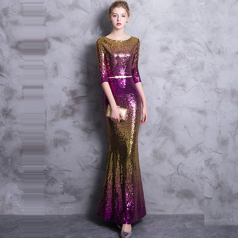 Evening     Dress   Half-sleeve Women Party   Dresses   Sequin Elegant Robe De Soiree 2019 O-neck Floor Length Formal   Evening   Gowns F212