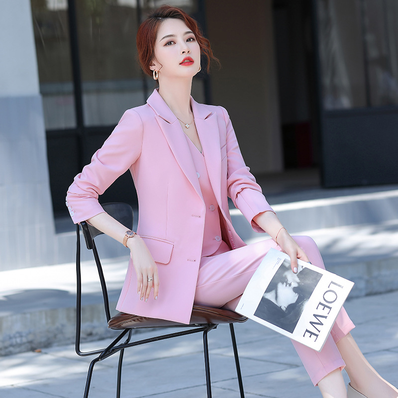 Fall women's professional suit pants interview Professional business striped ladies blazer high quality Slim trousers Two-piece