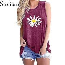 Summer Women's Daisy Printed T-Shirts Cotton Linen V-Neck Thin Short Vest Tee Top Sleeveless Breathable Soft Woman T-Shirt 2021