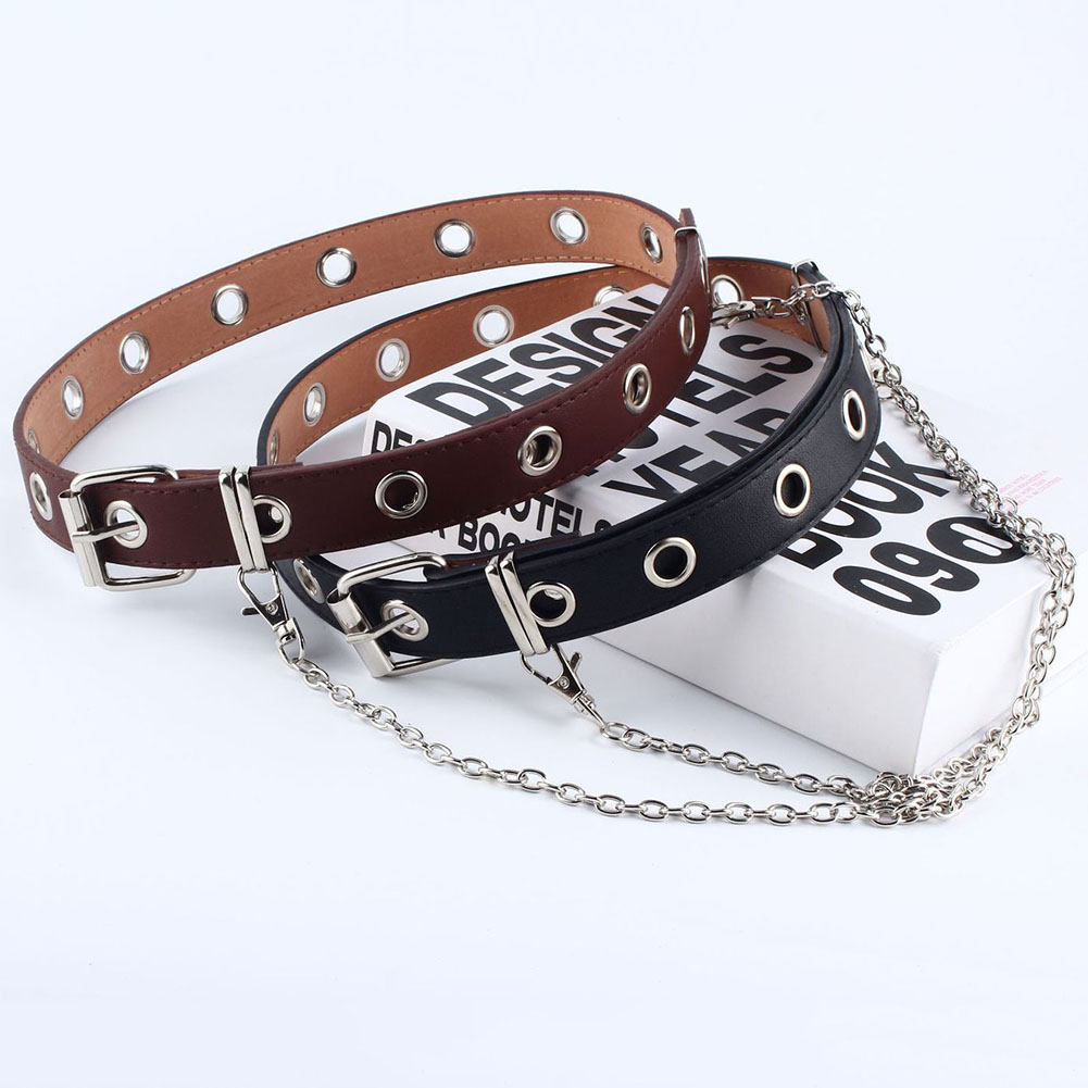 1pcs Double Row Hole Belt For Men Women Punk Style Waistband With Eyelet Chain Fashion Decorative Belt For Jeans Pants Trousers