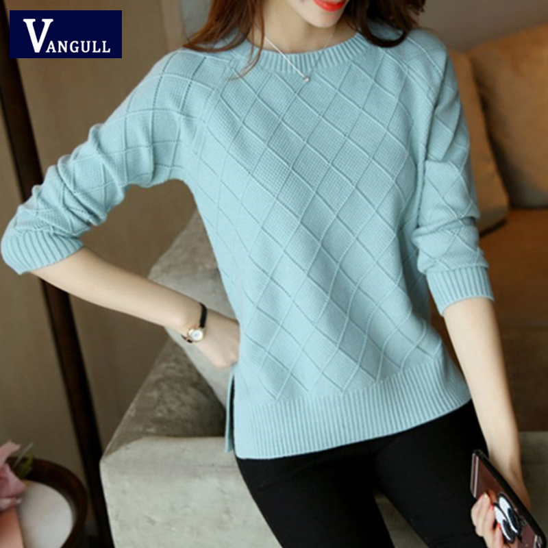 Vangull Knitted Women Sweater New Spring Autumn O-neck Long Sleeve Sweater Pullover Female Thin Solid Jumper Ladies Sweater Tops