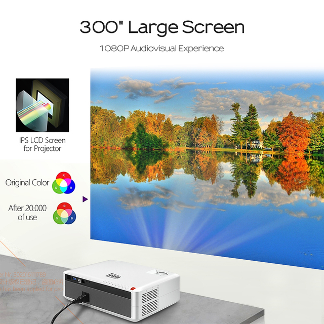 AUN Full HD Projector AKEY6/S, 6800 Lumens 1920x1080P, Optional Android 6.0 WIFI, LED Beamer for 4K Home Cinema. Free GIFT!