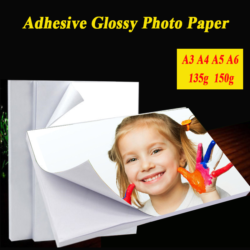 A3 A4 50sheets A5 A6 100sheets 135g 150g High Glossy Self Adhesive Photo Paper With Back Glue Sticker Printing Paper