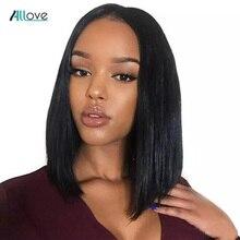 Allove frente do laço curto perucas de cabelo humano bob peruca para preto feminino brasileiro remy em linha reta bob perucas dianteira do laço 180% densidade