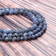Hot?Sale?Natural?Stone?Frosted Blue Stone15.5?Pick?Size?4/6/8/10/12mm?fit?Diy?Charms?Beads?Jewelry?Making?Accessories