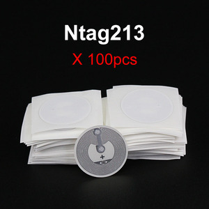 100pcs/Lot NFC Stickers Ntag213 NFC Tag 13.56MHz NTAG 213 RFID NFC Tags Universal Labels 25mm All NFC Phone Available Adhesive