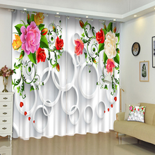 New Cafe Hotel 3D Blackout Window Curtains Europe Red Carved Flowers Pattern Polyester Children Bedroom for Living Room