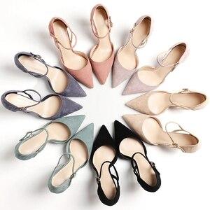 Image 1 - Женская обувь; коллекция 2020 года; обувь на тонком высоком каблуке; Офисная Женская обувь из флока с острым носком и ремешком на щиколотке; элегантные пикантные Босоножки на каблуке из двух предметов