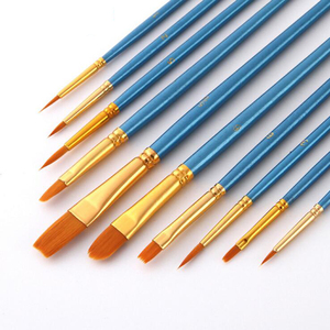 Image 3 - 10Pcs/Set Nylon hair paint brush different sizes oil watercolor drawing art brush  painting materials supplies