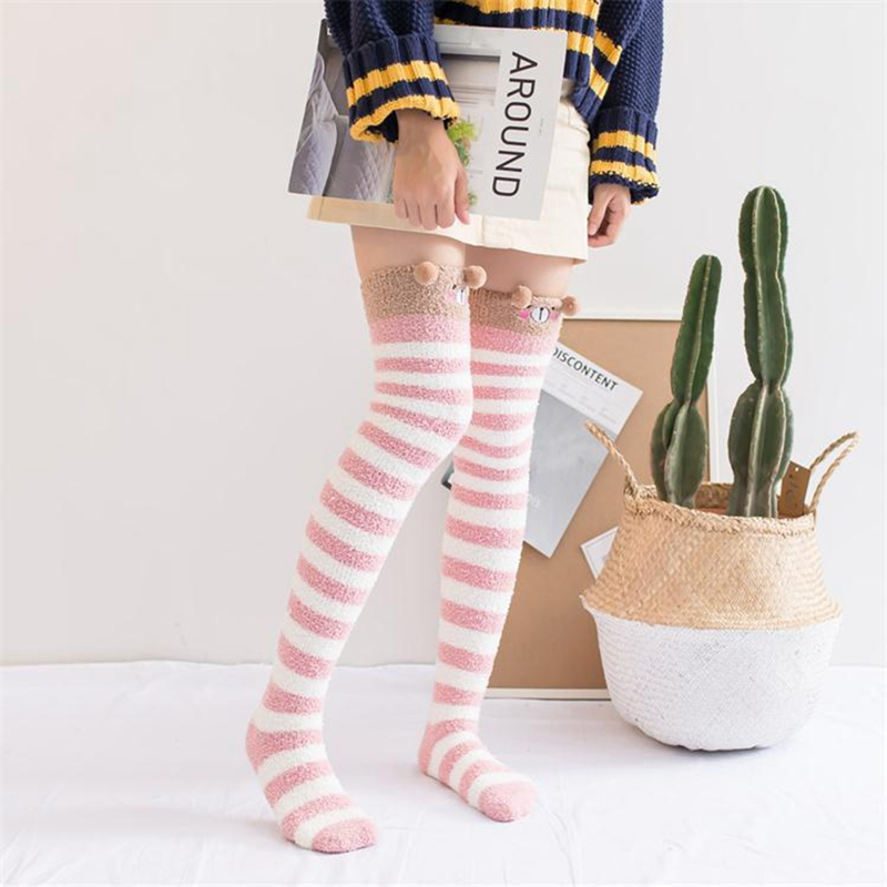 Winter Warm Coral Fleece Long thigh high Socks Girls Women Animal Modeling Stockings Striped Cute Knee