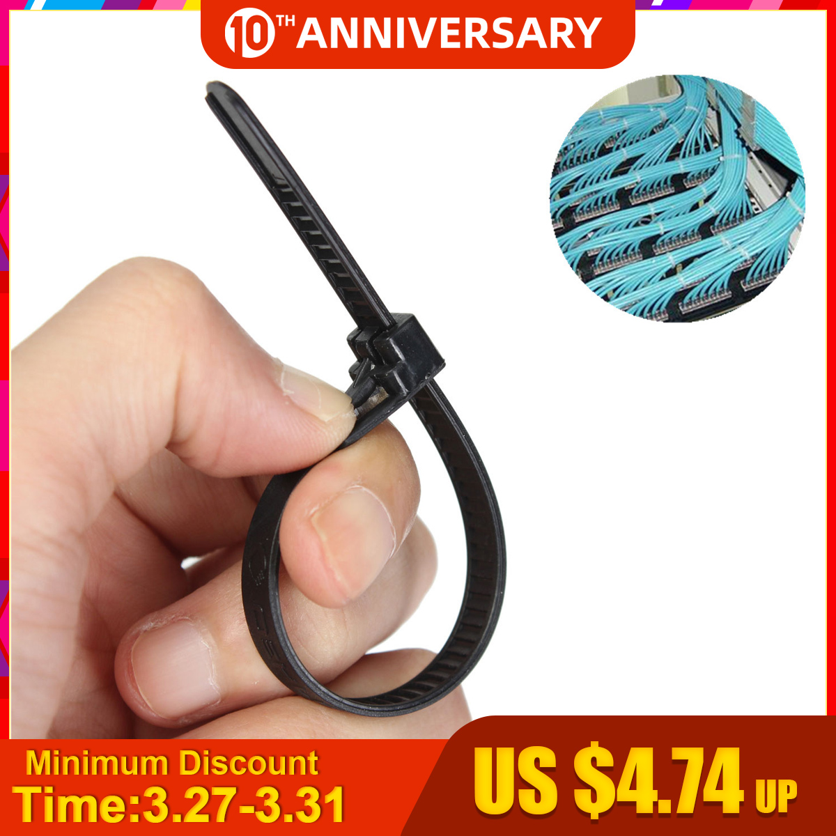 100Pcs Black Nylon Plastic Releasable Reusable Cable Tie Zip Wraps Ratchet Ties Wire 150x8mm/200x8mm/300x8mm For Binding Cable