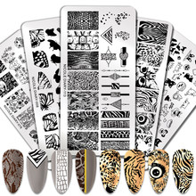 Nicole diário animal imagem placas de carimbo tarja grade padrão misto prego estampagem modelos estêncil flor impressão ferramenta