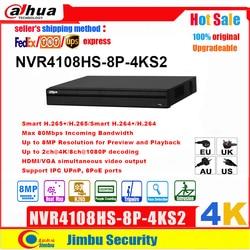 Dahua nvr 4k rede gravador de vídeo NVR4108HS-8P-4KS2 8ch h.265/h.264 até 8mp 8 portas poe ivs easy4ip compacto 1u lite