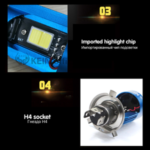 Image 5 - KEIN NEW Angel eyes COB Motorcycle Headlight Bulbs H4 Led H6 ba20d HS1 LED Motorbike Head Lamp Scooter Accessories Fog Light 25W