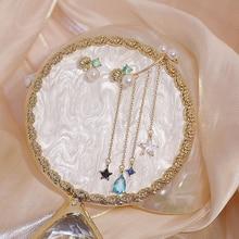 Luxury 14k Real Gold Asymmetry Shell Starfish Pearl Earring AAA Gemstone Zircon Charm Tassel Drop Earring Wedding Jewelry