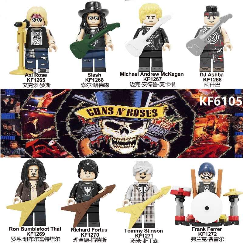 Building Blocks Rock Band Guns N' Roses Axl Rose DJ Ashba Tommy Stinson Frank Ferrer Action Figures toys for children KF6105