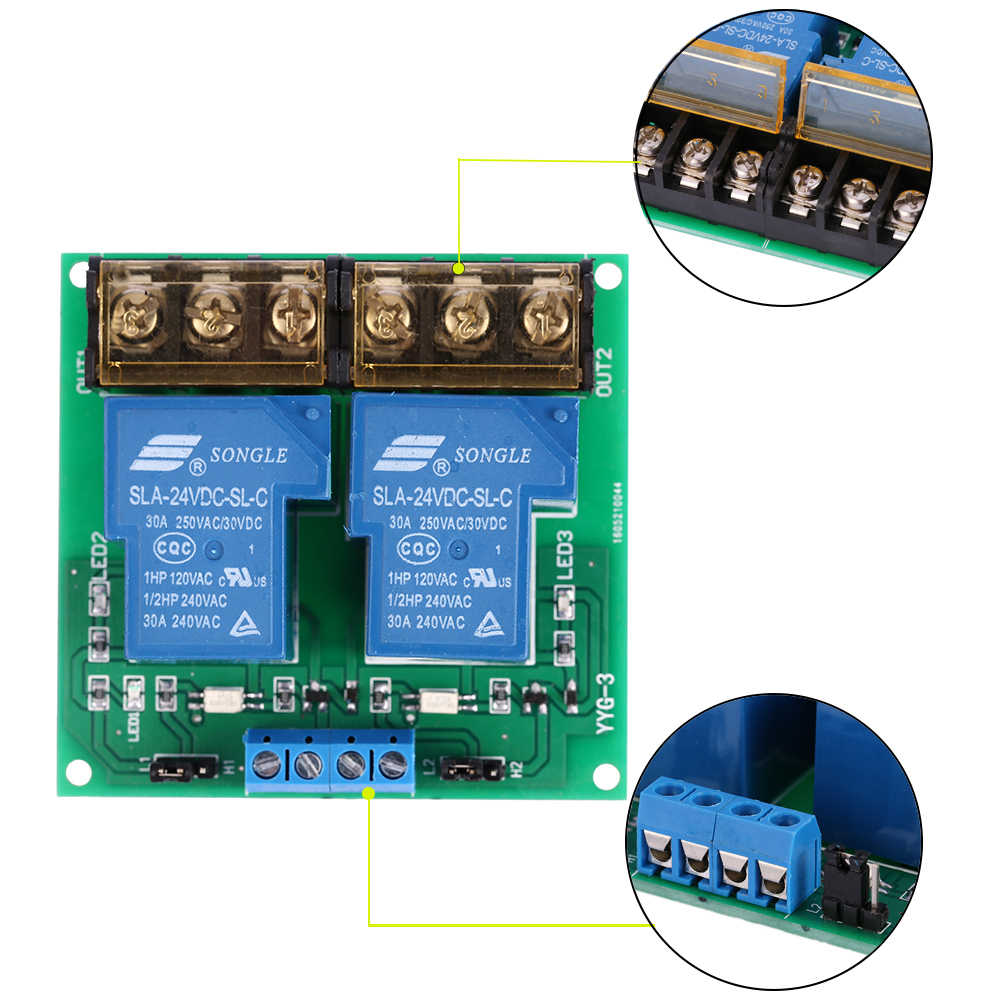 2 kanal Röle Modülü 12V 5V 24V DC 30A Röle devre kartı modülü Optocoupler Izolasyon Yüksek Düşük Tetik Endüstriyel sınıf PCB kartı