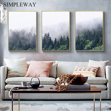 Scandinavian Foggy Forest Nature Landscape Wall Poster Nordic Canvas Art Print Painting Modern Living Room Decoration Picture