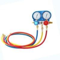 Car Air Conditioning Refrigerant Freon Double Valve Pressure Gauge Diagnostic Repair Tool Kit