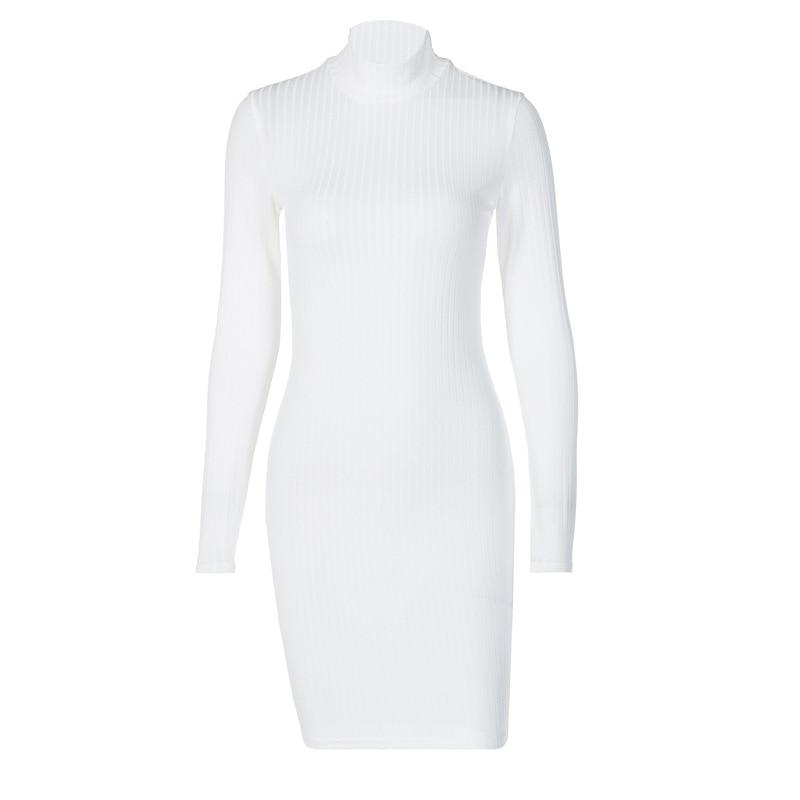 NORMOV Women Knitted Dress Sexy Turtleneck Streetwear Push Up Ployester Mini Bodycon Dress Solid Sheath Sweater Dress Female 7