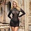 Comeondear Bodycon Dress Women Diamonds Clubwear Sexy Dress for Sex Transparent Long Sleeve  Jurken Zomer 2020 RB80918 1