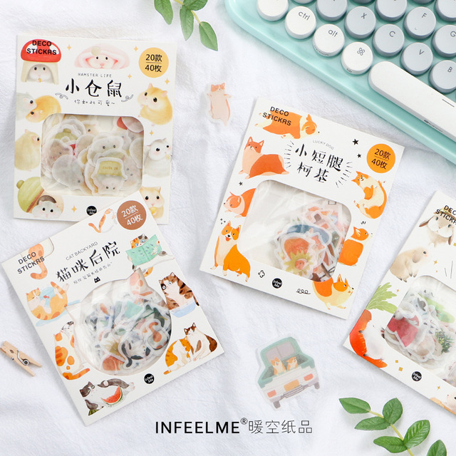 40 pièces/paquet Mohamm Kawaii chat Animal Hamster Journal Journal chien autocollants Scrapbooking papier mignon papeterie Scrapbook fournitures