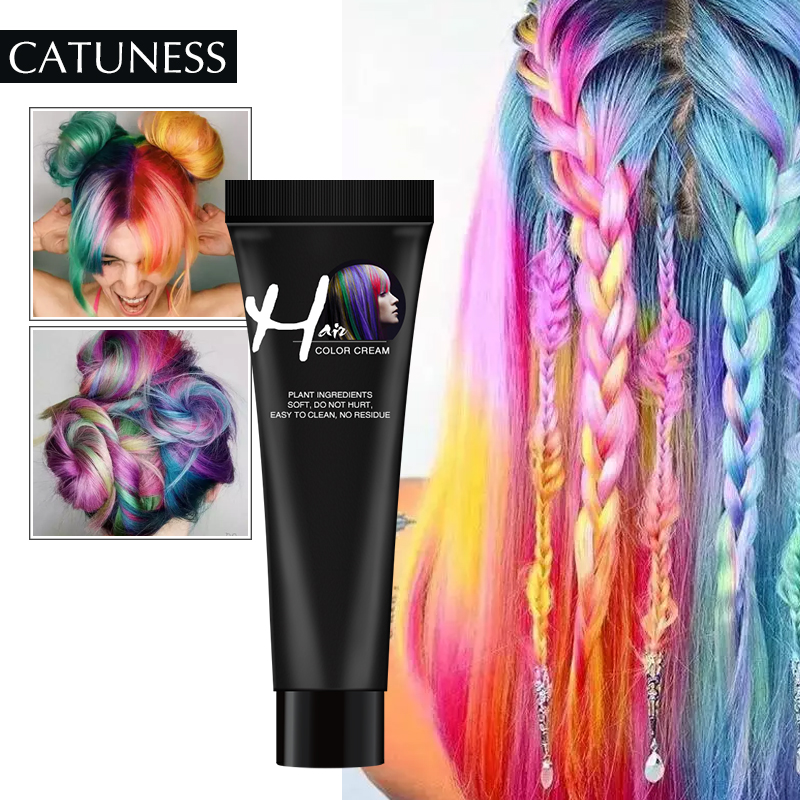 Catuness  Fashion No Irritation Hair Dye Permanent DIY Hair Color Wax Hair Colour Temporary Cream Gel Styling Unisex Hair Dye