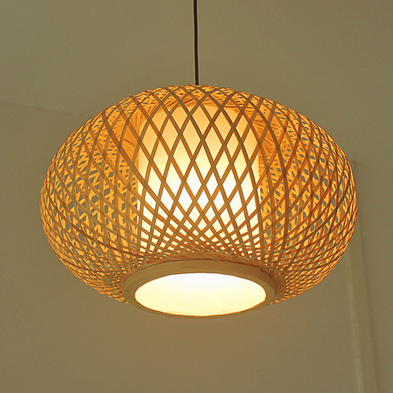 Hand Knitted Bamboo Pendant Light,Japan Style E27 For Restaurant Bedroom Rustic Rattan Art Lampadario Industrial Lamp Suspendues