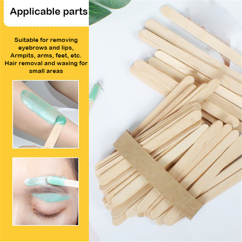 50Pcs/Box Wax Stick Wooden Disposable Cosmetic Makeup Spatula Spoon Facial Stick DIY Cream Spoon Wooden Hair Remove Cream Tool