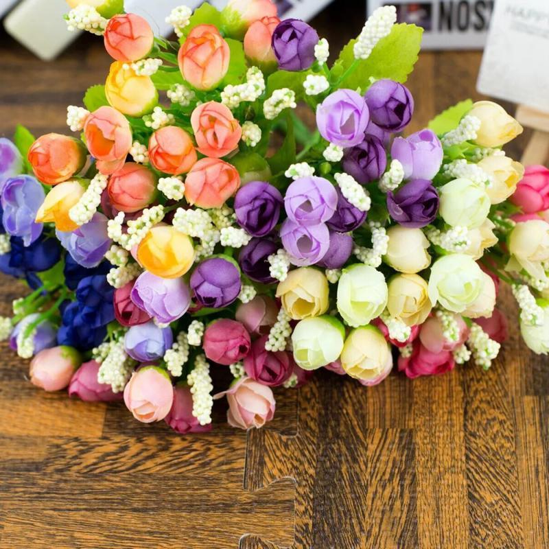 1 חבורה 15 ראשים מזויף עלה פרח משי מלאכותי בד פלסטיק פרח לחתונה אביזרים לבית קישוט גן צמחי עיצוב