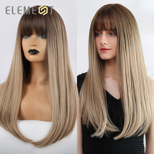 Element Synthetic 22 inch Long Wig with Bangs Dark Root Natural Headline Heat Resistant Hair Wigs for Women 2 Color(China)