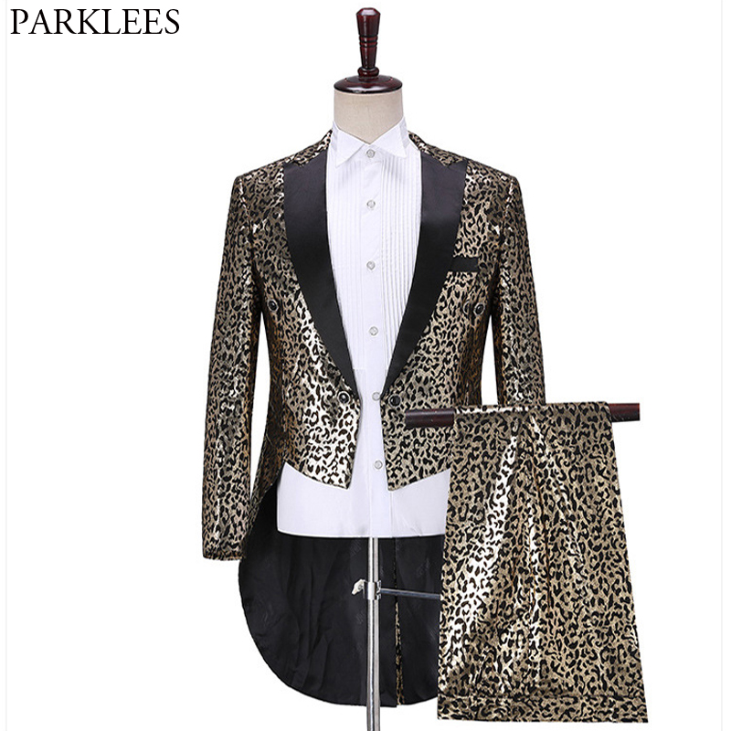 Men's Luxury Gold Leopard Sequins Tuxedo Suits Party Prom Stage Tailcoat Suits With Pants Male Nightclub Singer Dancer Costumes