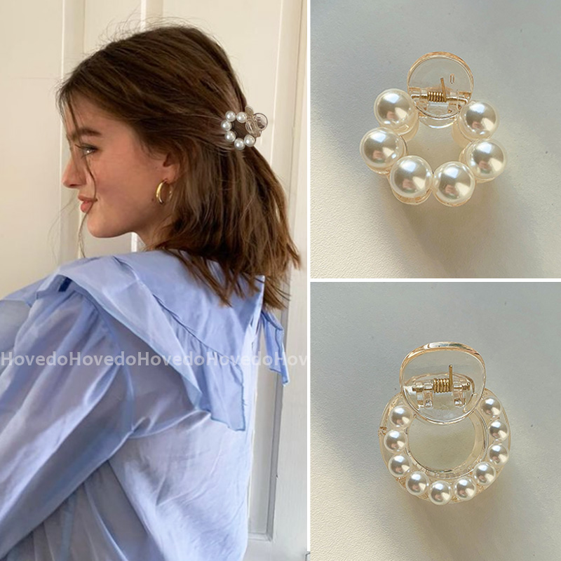 Sweet Mini Round Pearl Hair Clips for Women Girls Hair Claw Chic Barrettes Claw Crab Hairpins Styling Fashion Hair Accessories