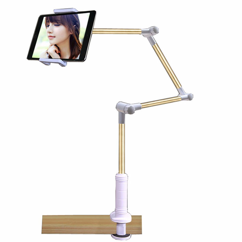 Folding Long Arm Tablet Phone Stand Holder For Ipad Pro 12.9 11 10.5 Samsung Kindle 4-14 Inch Lazy Bed Tablet Mount Bracket