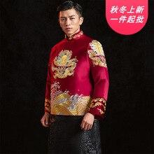 2020 costume Mao réel homme Xiuhe servi 2020 étoile au marié marier chinois hommes rétro hommes Longfeng existant mariage en gros