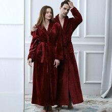 Халат фланелевый удлиненный для влюбленных, теплый банный халат из кораллового флиса, Добби кимоно, пикантная одежда для подружки невесты, большие размеры, зима
