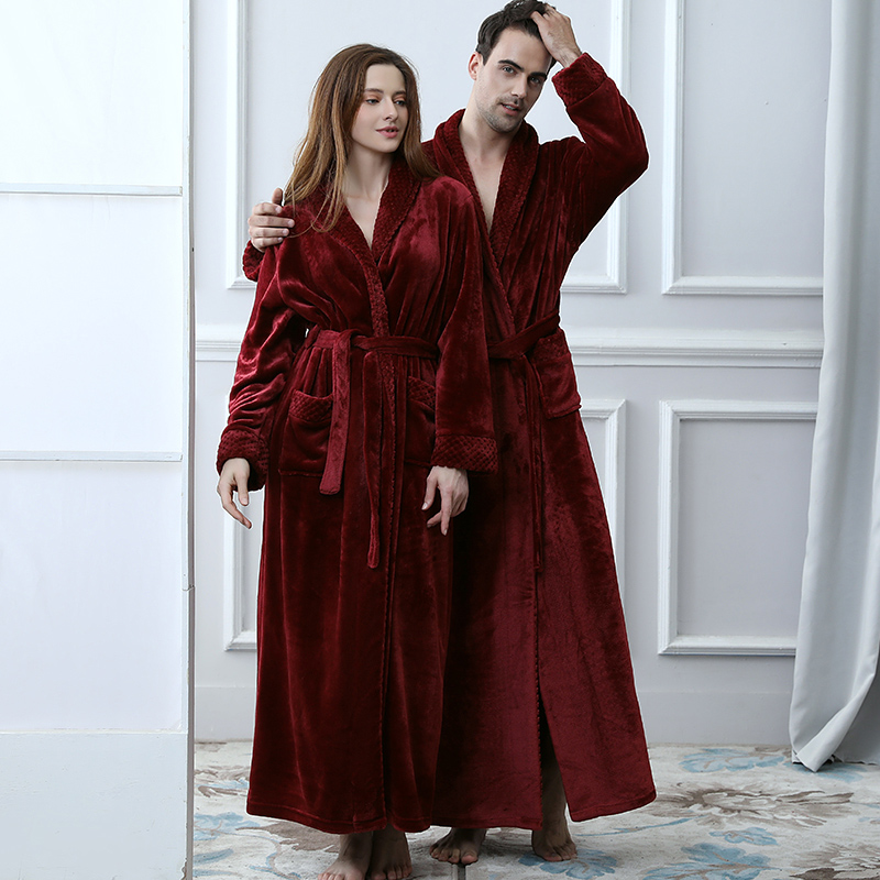 Lovers Winter Extra Long Plus Size Flannel Coral Fleece Warm Bathrobe Women Dobby Kimono Bath Robe Bridesmaid Sexy Dressing Gown-in Robes from Underwear & Sleepwears