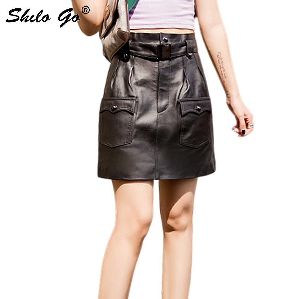 Genuine Leather Skirts Safari Style Buckle Belted Pocket Front Sheepskin A Line Hot Skirt Women Autumn Winter Casual Mini Skirt